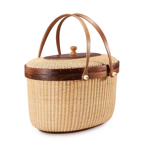 Nantucket basket Picnic Basket woven basket basket storage storage baskets storage basket shelves organizer basket woven storage basket cane basket for Storage Handmade Style Sewing kit(Walnut)