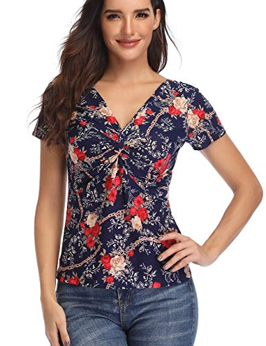 Womens Print Tops Twist Knot Front V Neck T Shirt Sexy Short Sleeve Shirt Blue X-Small