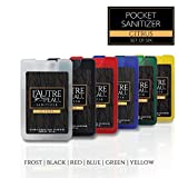Antibacterial Travel Hand Sanitizer Spray with Aloe Vera by L'AUTRE PEAU - Unique Flat Credit Card Shape - Citrus Scented Mini Pocket Size (6 Pack - 20ML, Frost,Black,Red,Blue,Green,Yellow)