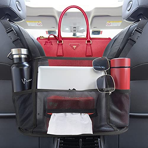 Car Net Pocket Handbag Holder, Viopic Newest Upgraded 4 in 1 Car Mesh Organizer, Extra Large Strong Bearing Capacity over 20Kg, Sturdy Car Purse Holder, Accessory Organizer, Barrier of Pet Kids, Black