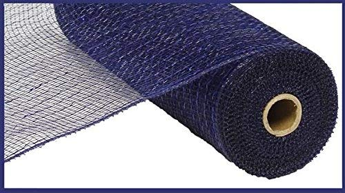 (10 inch x 30 feet Deco Poly Mesh Ribbon - Value Mesh (Navy Blue, Royal Blue Foil))