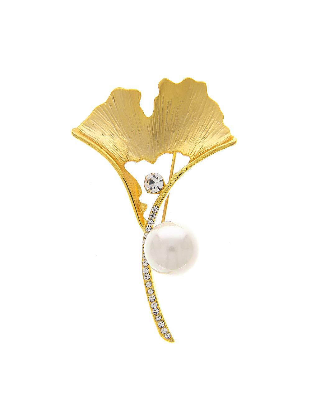 Anuradha Art Golden Matte Finish Designer Brooch for Women/Men
