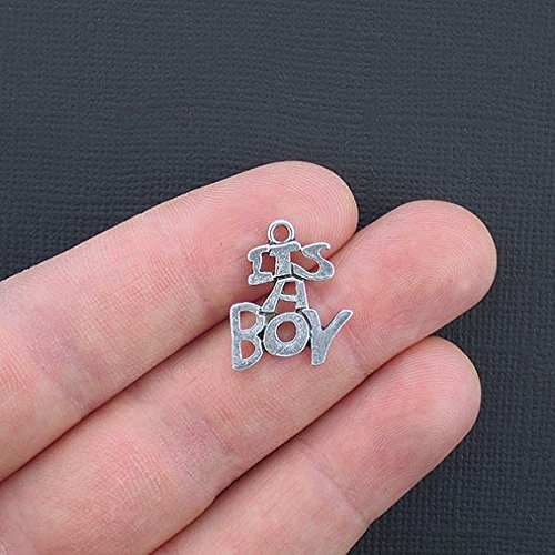Baby Charms Bee (6 Baby Boy Charms Antique Silver Tone Its A Boy - SC3326 Jewelry Making Supply Pendant Bracelet DIY Crafting by Wholesale Charms)