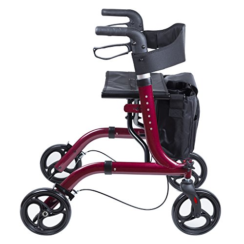 ELENKER Medical Euro Style Four Wheel Walker Rollator Red by ELENKER (Image #3)