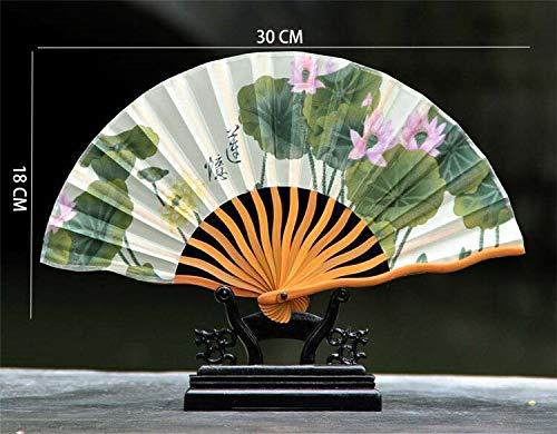 Fan Flower Bamboo - Decorative Fans - cm Vintage Lotus Folding Fan Chinese Style Lotus Flower Pattern Silk Bamboo Folding Hand Fan Wedding Party Decorative Gifts - by GTIN - 1 Pcs