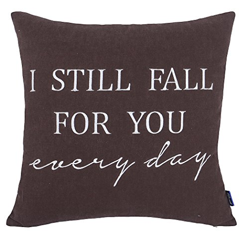 EURASIA DECOR DecorHouzz Pillow Cover Romantic Love Quote Embroidered Throw Pillowcase for Couple Valentine Anniversary Wedding Gift (18