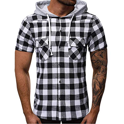 (Fashion Men's Casual Self-Cultivation Hoodie Short Sleeve, MmNote Moisture Wicking Performance Lattice All-Over Graphics White)