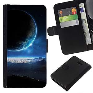 // PHONE CASE GIFT // Moda Estuche Funda de Cuero Billetera Tarjeta de crédito dinero bolsa Cubierta de proteccion Caso Sony Xperia M2 / Space Planet Galaxy Stars 42 /