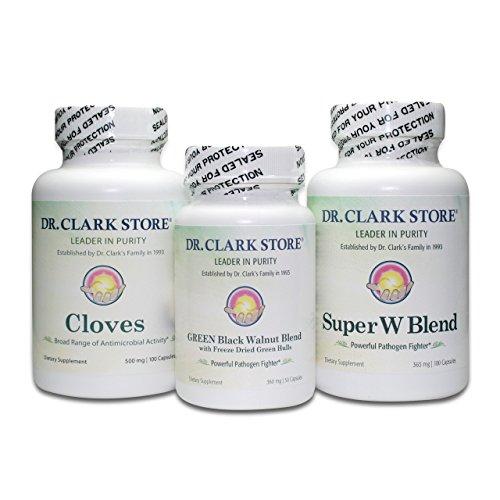El Dr. Clark Para-cleanse con casco de nuez negro verde liofilizada (3 artículos) (50 cápsulas)