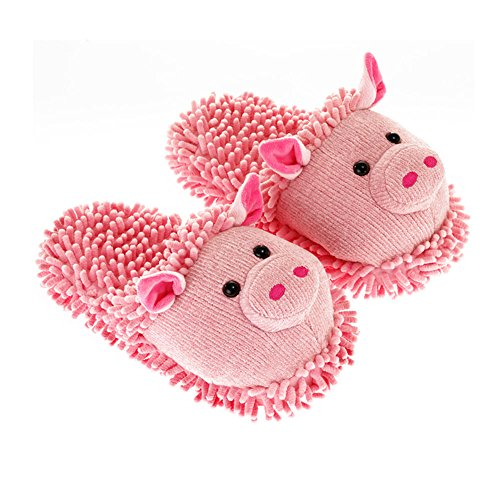 Aroma Home Shoes Pig Fuzzy Friends Slipper, Chaussons Mules Femme, Rose, Taille M
