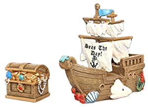 GiftCraft Miniatures Shipwreck Bundle of 2: Pirate Ship and Treasure Chest