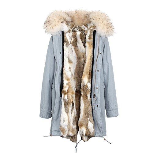 Dapengzhu Fashion Women's Army Green Large Raccoon Fur Hooded Long Coat Parkas Outwear Natural Rabbit Fur Lined Winter Jacket Color 8 L by Dapengzhu fashion-hoodies