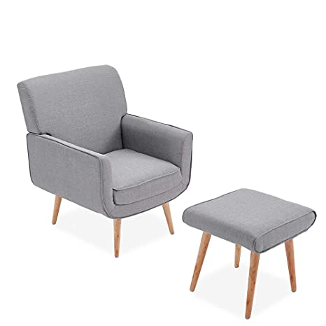 Pleasing Paldin Fabric Linen Upholstered Armchair With Footstool Tub Accent Chair Armchair Stool For Living Dining Room Bedroom Lounge Office Grey Pabps2019 Chair Design Images Pabps2019Com