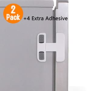 Home Refrigerator Fridge Freezer Door Lock, Latch Catch Toddler Kids Child Fridge Locks Baby Safety Child Lock, Easy to Install and no Tools Need or Drill with 4 Extra Adhesive (White, 2 Pack)