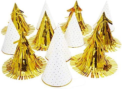 Blue Panda Polka Dot & Metallic Fringe Birthday Party Hats for Kids (12 Pack) Gold