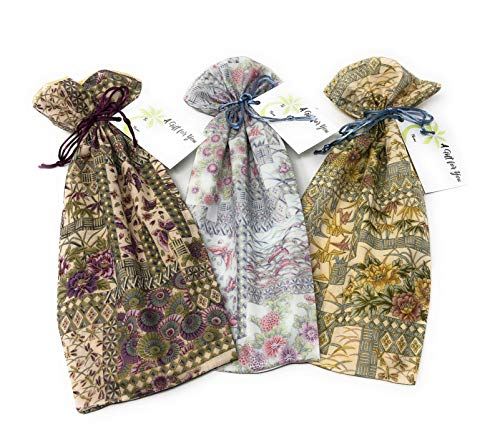Kimono Gardens Fabric - Reusable Drawstring Gift Bag | Eco-Friendly Alternative to Paper giftwrap for Wine Bottle | Weddings & Showers | Cotton Cloth, Fully-Lined Lamé, 13.25