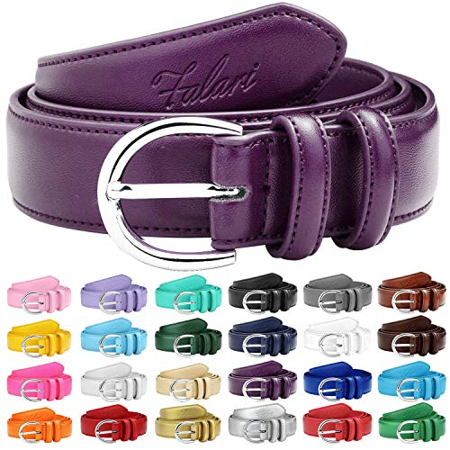 Falari Women Genuine Leather Belt Fashion Dress Belt With Single Prong Buckle 6028-Plum-M ()