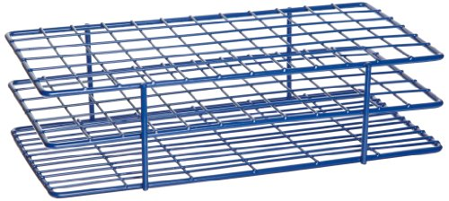 Heathrow Scientific HD23072 Steel Epoxy-Coated 72-Well Wire Rack for 16mm Tubes, Blue (Test Tube Rack Metal)