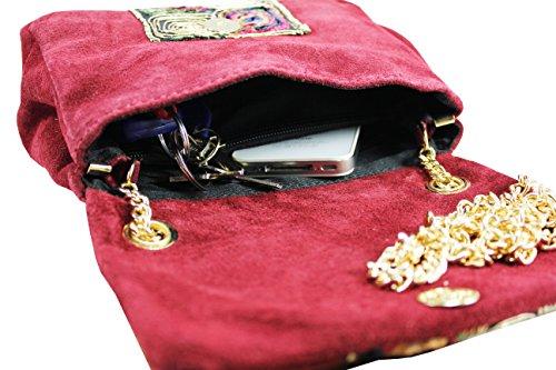 FERETI e doro con colore rosso Borsa catena piccola ricamo a tracolla multi r6xr7awn
