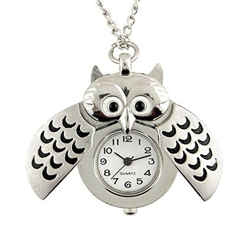 Owl Pocket Watch Pendant - GlobalDeal Retro Owl Shape Pendant Analog Pocket Watch Chain Necklace Unisex Jewelry Gift