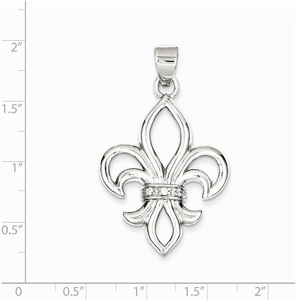 Mens Sterling Silver Rhodium-Plated Synthetic CZ Fleur De Lis Pendant