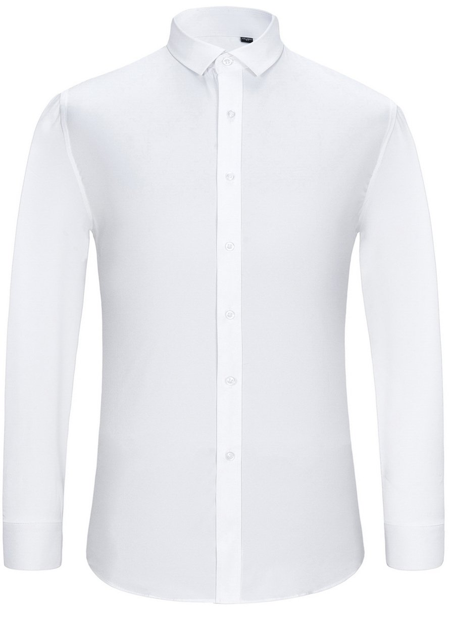 J.Ver Men's Poplin Fitted Elastic Slim Fit Solid Color Long Sleeve Dress Shirts - Color White, Size: 15.5'' Neck - 34''/35'' Sleeve