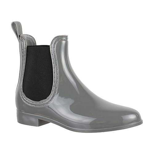 Bequeme Stiefeletten Damen Chelsea Boots Gummistiefel Lack