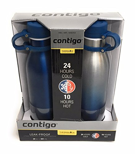 Contigo Thermalock Stainless Steel 20 oz Water Bottle - 2-Pack (Monaco and Ombre) by Contigo