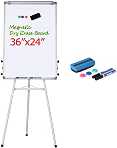 Yaheetech 36x24 Portable Magnetic Dry Erase Easel Board Tripod Presentation Whiteboard Flipchart Easel Height Adjustable for Office/Home/School Use with Free 1 Eraser, 2 Dry Erase Markers, 3 Magnets