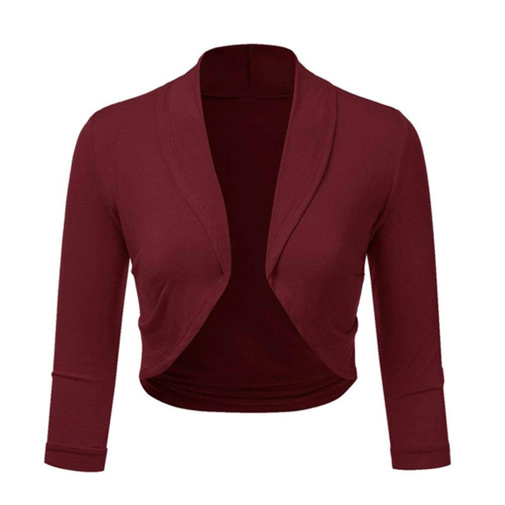 ESAILQ Women Cardigan Plus Size Solid Womens Ladies Seven-Quarter Sleeve Cardigan Crop Top Bolero Shrug Open Front Cropped Mini Office Work
