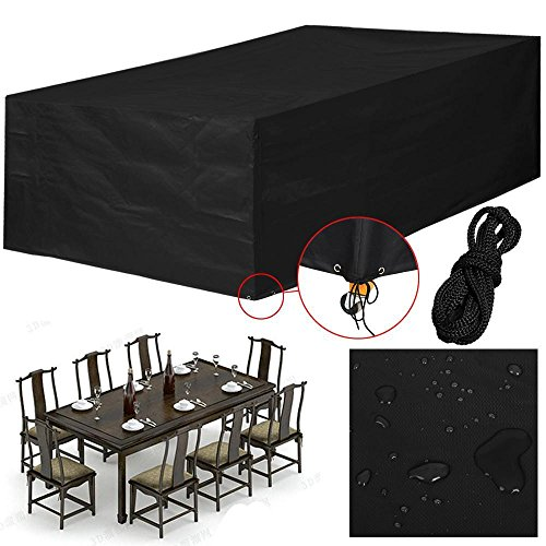 Yaheetech 600D Oxford fabric Outdoor Protective Furniture Cover Waterproof for Wicker Rattan XL Black,245x165x55cm (LxWxH) …