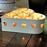 The Farmer's Market Sweet Romantic Candle Gift Set, Includes 1 Galvanized Metal Heart Tray, 6 Glass Candle Cups Plus 6 Wax Tealight Candles, 7 Inches Wide, By Whole House Worlds