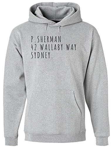 IDcommerce P. Sherman, 42 Wallaby Way, Sydney Men's Hoodie Pullover Extra Large Gray (P Sherman 42 Wallaby Way Sydney Australia)
