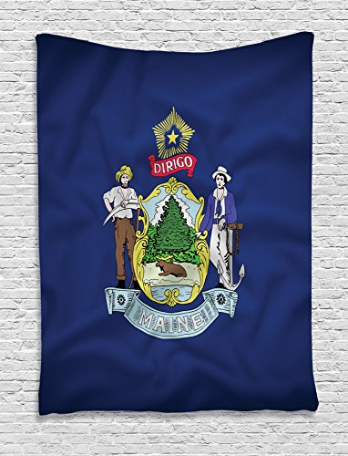 Patriotic Stars Backdrop (Ambesonne American Decor Collection, Maine Flag a Moose Rests under a Tall Pine Tree Farmer and Seaman Quotes
