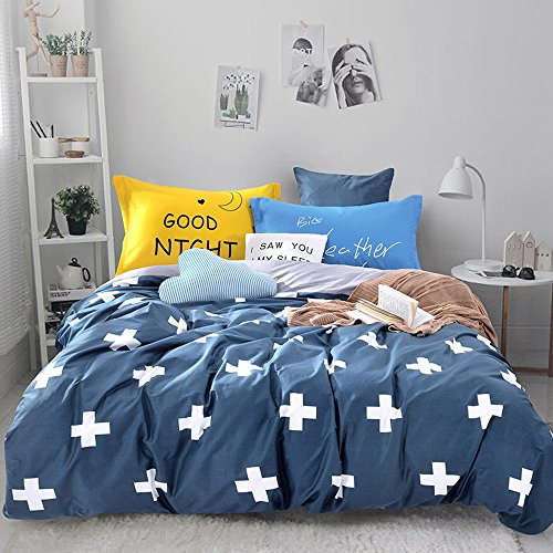 Mumgo Home Textile Bedding Sets for Adult Kids White Plus Cross Pattern Duver Cover Set 100% Cotton 500 Thread Count, Twin Full/Queen King Set (Twin Size(3Pc), Flat Sheet) by Mumgo