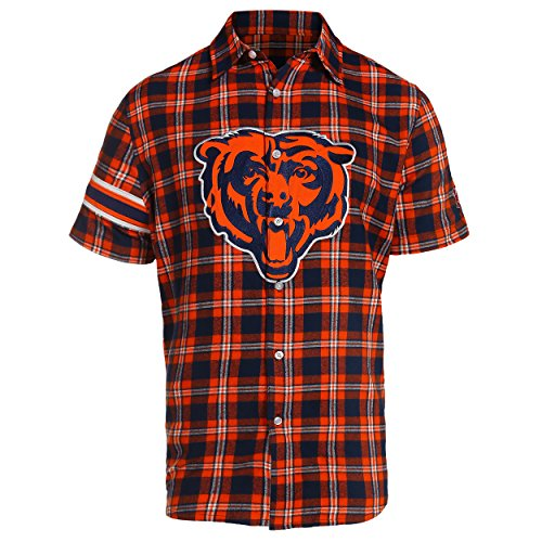 Chicago Bears Colorblock Short Sleeve Flannel Extra Large