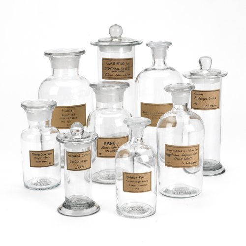 Bottles Apothecary Antique (Two's Company Botany Apothecary Jars with Antiqued Labels, Set of 9)