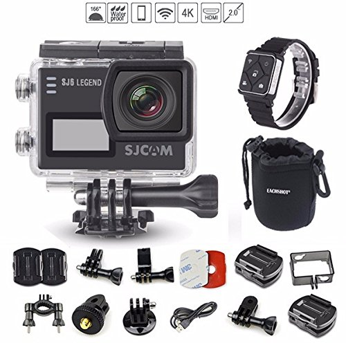 SJCAM SJ6 with Remote Watch, SJ6000 LEGEND 2″ LCD Touch Screen 2880×2160 4K Action Camera Novatek NT96660 Panasonic MN34120PA CMOS - Black with EACHSHOT Cleaning Cloth Action Cameras SJCAM