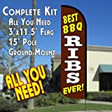 Vista Flags BEST BBQ RIBS EVER Windless Feather Banner Flag Kit (Flag, Pole, Ground Mt)