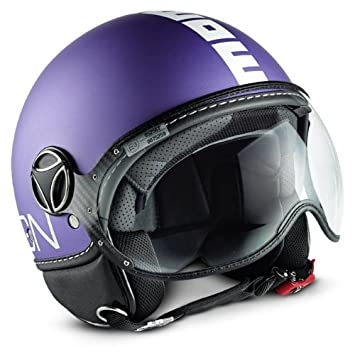 MoMo fgtr Open Face Casco de Moto en Color Lila Mate con Color Blanco de Vinilo