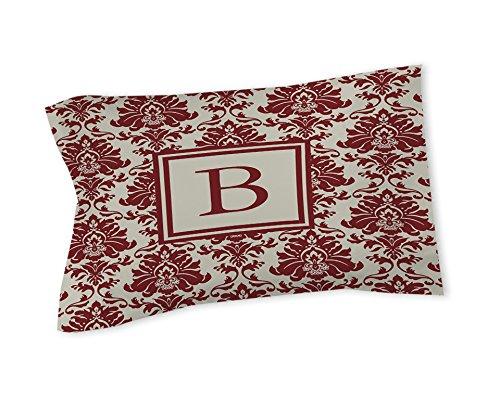 Thumbprintz Pillow Sham, Standard, Monogrammed Letter B, Crimson Damask
