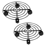 10.5'' Heavy Duty Indoor Metal Plant Stand Flower Pot Stand with wheels Round Flower Pot Home Garden Tools(2Pack)