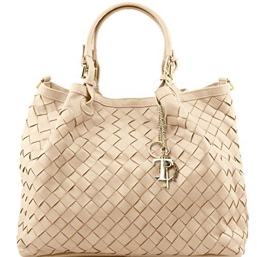 81414294 - TUSCANY LEATHER: TL KEYLUCK - Sac shopping en cuir tressé à main - Grand modèle, Beige