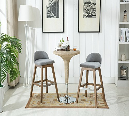 Chairus Counter Height Bar Stools Set, Fabric Upholstered Modern Dining Distressed Indoor & Outdoor Gray Bar Stool Chair with Low Back & Wood Legs for Dining Room, Kitchen, Bar Counter – Set of 2