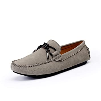 Xiazhi-shoes, Mocasines para Hombres Confortable Driving Loafer, Cuero Genuino Gamuza Vamp Slip en los Zapatos de Ocio (Color : Caqui, tamaño : 39 EU): ...