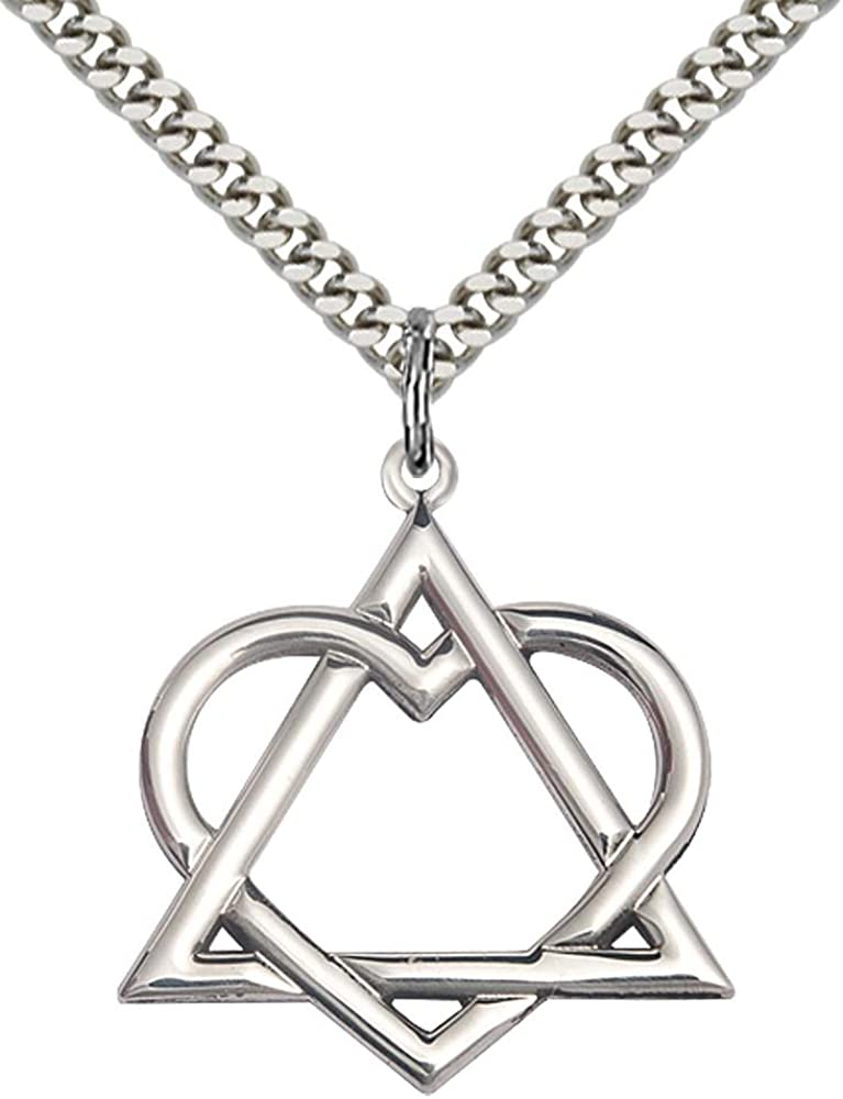 "B01725E54C F A Dumont Sterling Silver Adoption Heart Pendant with 24"" Stainless Steel Heavy Curb Chain. 51JxaZQ52BmL"
