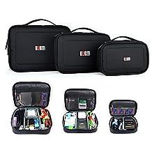 BUBM 3pcs/set Waterproof Portable Travel Organizer Handbag Cosmetic Bag Make up Case Camera Table Phone Cable Charger Carrying Case Black