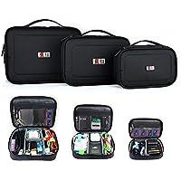 BUBM 3pcs/set Waterproof Portable Travel Organizer Handbag Cosmetic Bag Make up Case Camera Table Phone Cable Charger Carrying Handbag Container Box Black