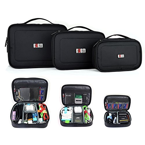 BUBM 3pcs/set Travel Office Gear Organizer Electronics Accessories Bag Small Gadget Carry Storage Bag Pouch by BUBM