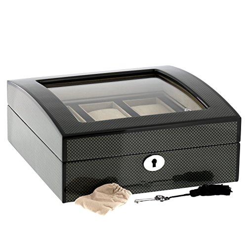 Super Qualität Carbonfaser Uhr Sammler Kiste für 6 uhren mit Glasplatte by Aevitas -